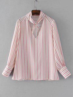 Bow Tie Collar Stripes Blouse - Stripe S
