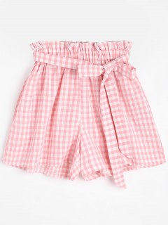 Smocked Belted Checked Shorts - Pink