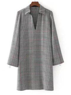 Zippered Long Sleeve Checked Casual Dress - Checked M