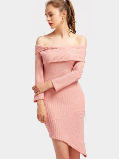 Off The Shoulder Asymmetric Knitted Dress - Pink L