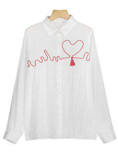 Heart Embroidered Button Up Shirt - White M
