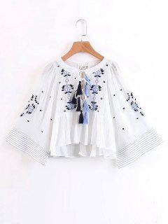 Embroidered Tassels Lace Up Blouse - White S