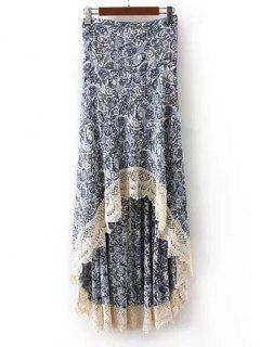 Printed Crochet Hem High Low Maxi Skirt - Blue M