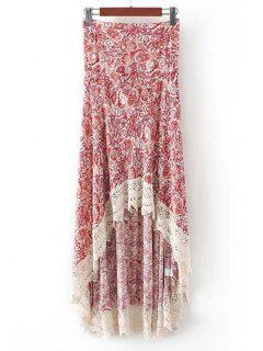 Printed Crochet Hem High Low Maxi Skirt - Red M