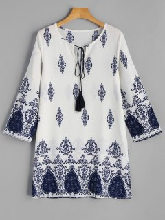 Printed Long Sleeve Tunic Dress - Blue And White M