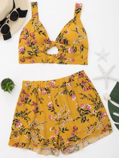 Floral Print Cropped Top And Shorts Set - Ginger Xl