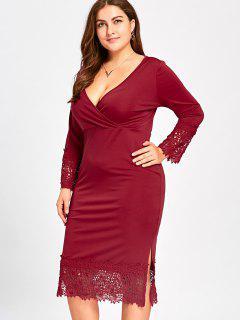 Lace Trim Plus Size Midi Surplice Dress - Wine Red Xl