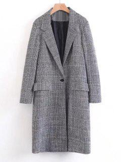 One Buttoned Long Sleeve Checked Coat - Black M