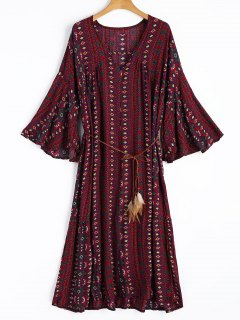 Printed Slit Oversized Dress - Dark Red