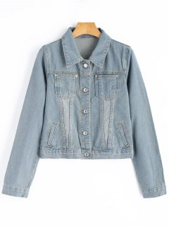 Cropped Denim Jacket - Light Blue M