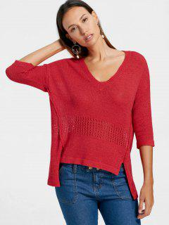 Hoch Niedriger Saum V-Ausschnitt Pullover - Rot L