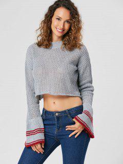 Flare Ärmel Crop Sweater - Rauchgrau S