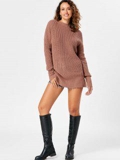 Open Back Lace Up Tunic Sweater - Light Coffee S