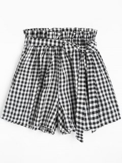 Smocked Belted Checked Shorts - Black