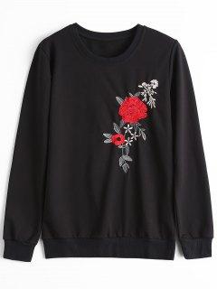 Sweat-shirt à Fleurs Patchées Ras Du Cou - Noir M