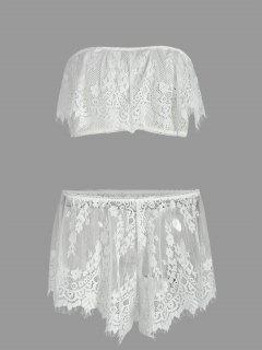 Mesh Lace Tube Bra With Shorts - White L