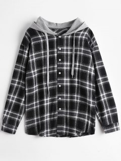 Button Up Checked Drawstring Hoodie - Checked