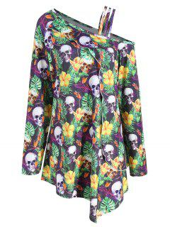 Plus Size Halloween Skull Skew Neck T-shirt - 4xl