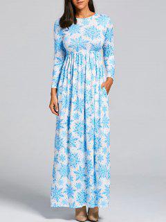 Weihnachten Schneeflocke Print Maxi Kleid - Hellblau S