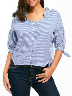 Asymmetrical Lantern Sleeve Striped Shirt - Blue 2xl