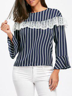 Lace Insert Striped Bell Sleeve Blouse - Blue M