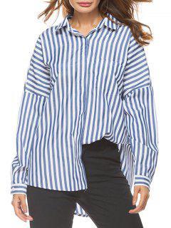 Oversized Drop Shoulder Striped High Low Shirt - Blue Strip Pattern Xl
