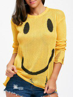 Smile Face Distressed Knitwear - Yellow M