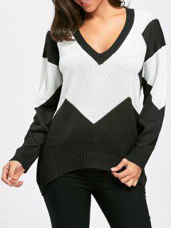 Two Tone Color Deep V Neck Sweater - Black White M