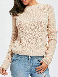 Lace Up Raglan Sleeve Chunky Sweater - Apricot