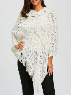 Asymmetric Fringed Chunky Cape Sweater - White