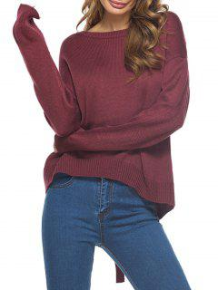 Drop Shoulder Cut Out Criss Cross Sweater - Wine Red