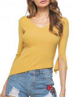 Split Sleeve Asymmetrical Ribbed Sweater - Yellow
