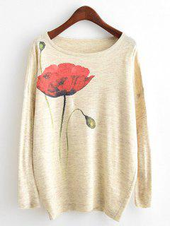 Flower Print Heathered Dolman Sleeve Knitwear - Beige