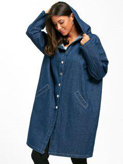 Button Up Hooded Denim Longline Coat - Cerulean