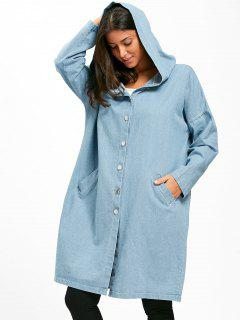 Button Up Hooded Denim Longline Coat - Cloudy