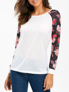 Raglan Sleeve Floral Print T-shirt - White M