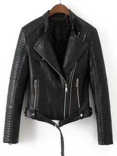 Faux Leather Belted Biker Jacket - Black M