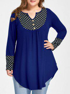 Plus Size Polka Dot Curved Tunic Top - Blue Xl