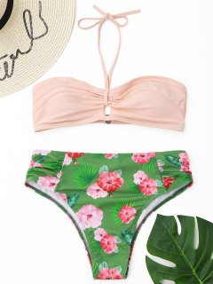 Blumenhalfter High Cut Bikini Set - Grün S