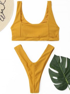 High Cut Ribbed Thong Bikini Set - Yellow S