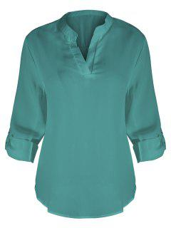 V Neck Plus Size Blouse - Glauque Xl