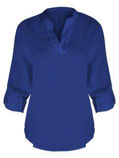 V-Ausschnitt Plus Größe Bluse - Blau Xl