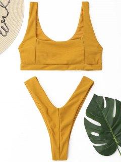 Conjunto De Bikini De Tanga Acanalado De Corte Alto - Amarillo S