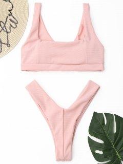 Conjunto De Bikini De Tanga Acanalado De Corte Alto - Rosa S