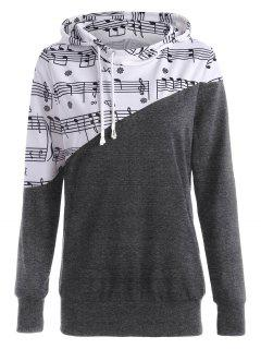 Music Note Two Tone Hoodie - Deep Gray 2xl