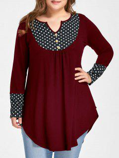Plus Size Polka Dot Curved Tunic Top - Wine Red 3xl