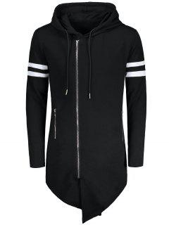Varsity Stripe Zip Up Long Asymmetrical Hoodie - Black M