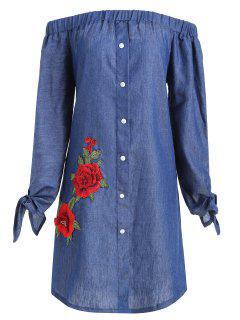 Plus Size Floral Applique Chambray Vestido De Hombro - Azul Denim Xl