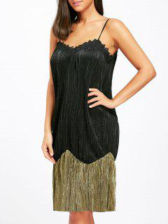Two Tone Pleated Slip Night Dress - Black M
