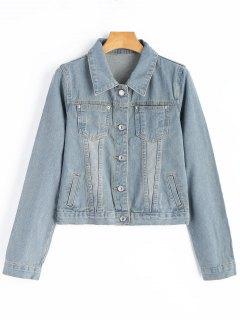 Cropped Denim Jacket - Light Blue Xl